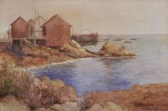 """Chinese Fishing Village, Monterey, 1900"" Watercolor by Harry Stuart Fonda"