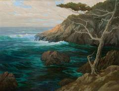 """Carmel Coast, 1923"" Early California Impressionist Oil painting by Roi Colman"