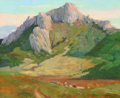 """Mountain Landscape"" California Oil painting circa 1930's by George Demont Otis"