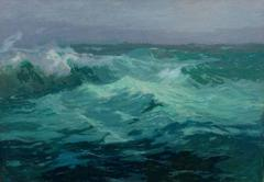 """William Ritschel """"Whitecaps, 1907"""" Early California Oil painting"""