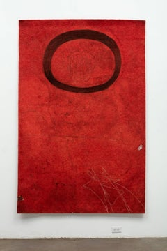 Gary Goldberg, Finding the Universe in Oaxaca, floating oval on deep red ground