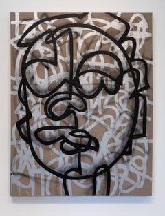 JM Rizzi, Set Teeth in Silver Moon, acrylic on canvas