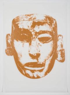 Rene Trevino, Aztec Mask (Ochre), acrylic on mylar framed wall painting