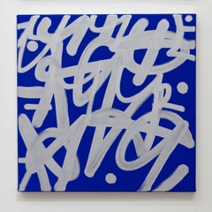JM Rizzi, Silver on Yves Klein Blue, abstract expressionist wall art