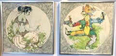 Bjorn Wiinblad, Pair of Yogis, Framed Prints on Wood Panel