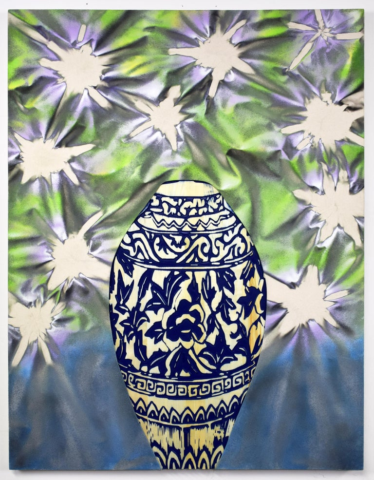 Mike Carney, Still (Real) LYF 27, blue and white ginger jar floral wall art