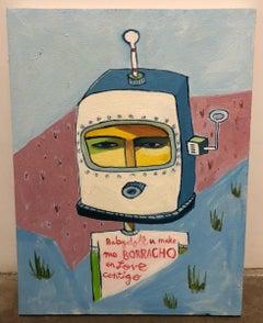 Cruz Ortiz, Valentine Boy Hiding from La Migra, Mexican American painting