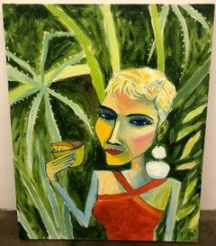 Cruz Ortiz, Olivia Drinkin Mezcal en Marfa, Mexican American female portrait art