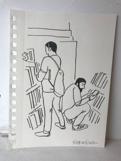 Rob Wilson, Strand Bookstore, signed unique drawing unframed art
