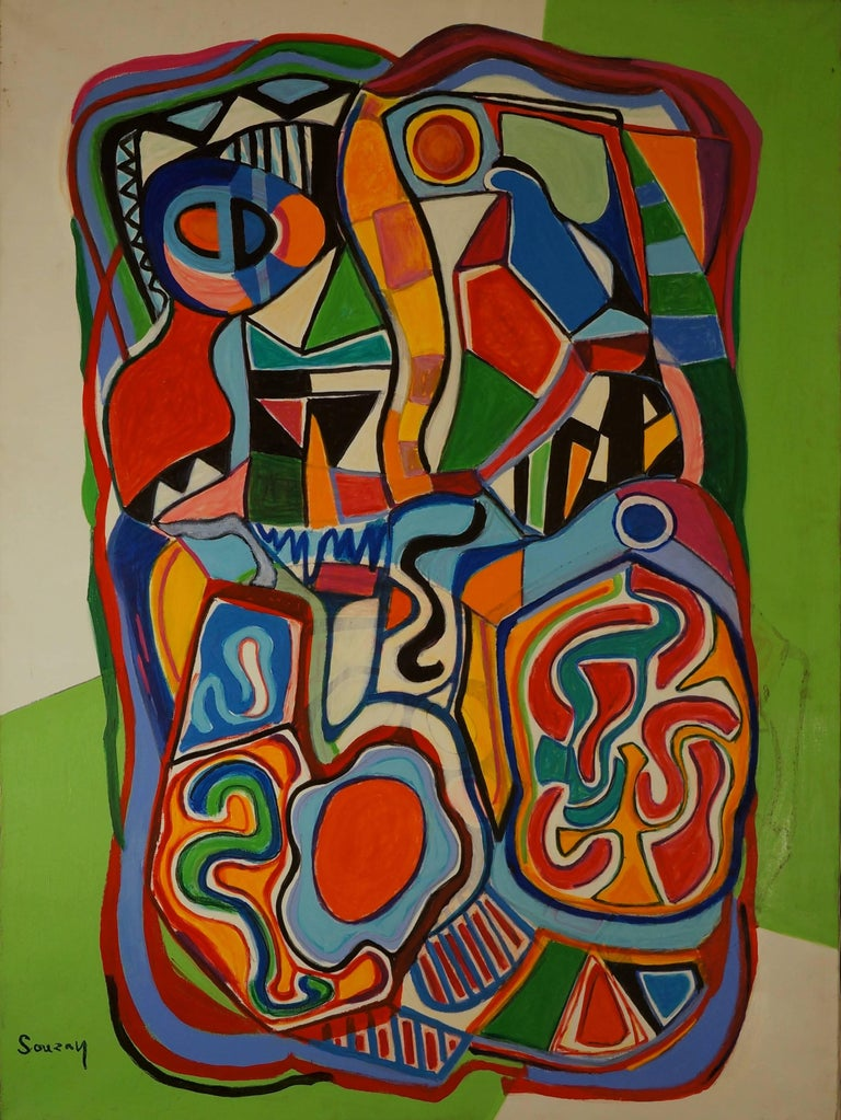 Gérard Souzay Abstract Painting - Abstract Composition SII