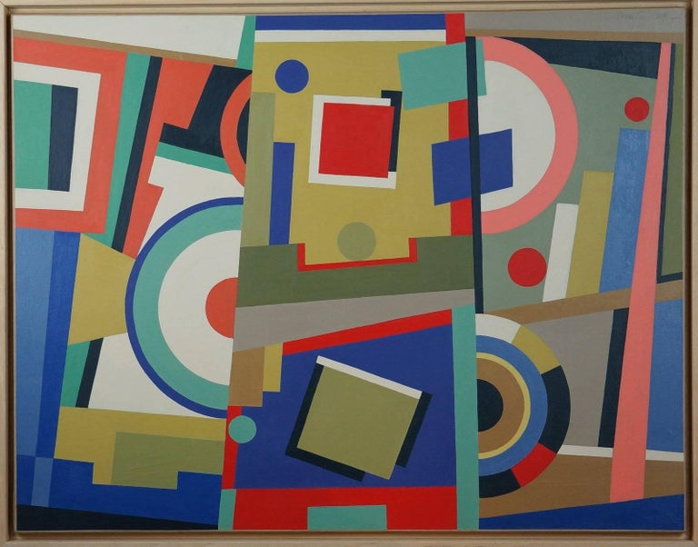 Pedrini Silvia Abstract Painting - Abstract Geometric Composition SP15