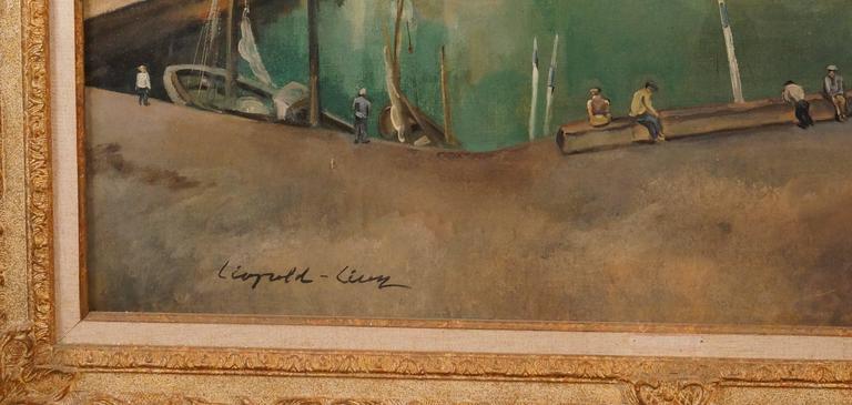 Vue Du Vieux Port De Dieppe - Painting by Léopold Lévy