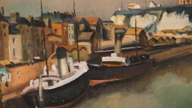 Vue Du Vieux Port De Dieppe - Post-Impressionist Painting by Léopold Lévy