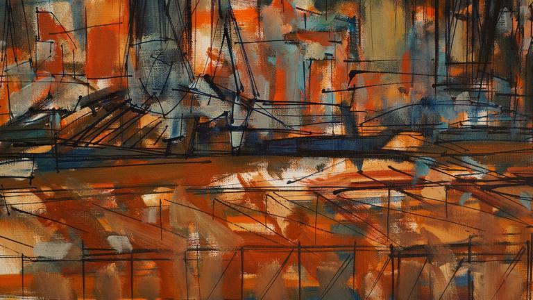L'Estaque - Brown Abstract Painting by Altmann Gérard
