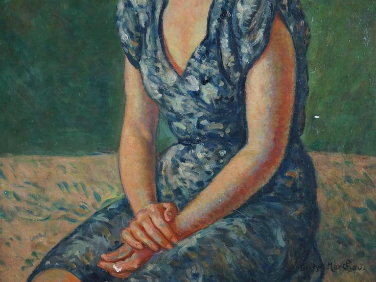 Portrait Of Woman - Painting by Marchou Georges