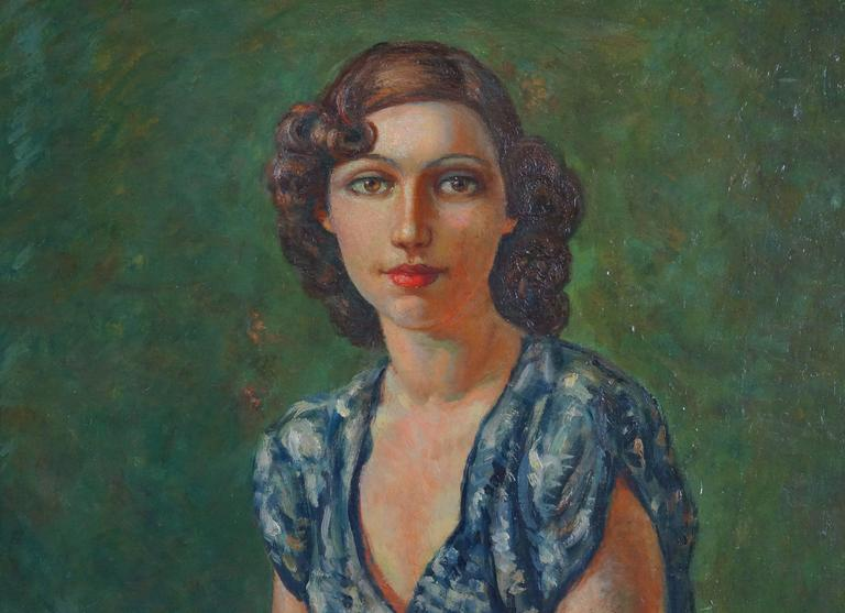 Portrait Of Woman - Art Deco Painting by Marchou Georges