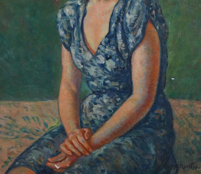 Portrait Of Woman - Black Portrait Painting by Marchou Georges