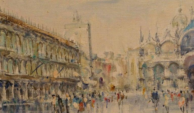 La Place Saint Marc - Brown Landscape Painting by Unknown