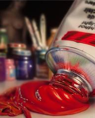 """Photorealist red paint tube, """"Studio VI"""", acrylic on cradled hardboard"""