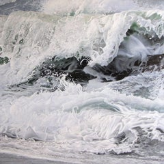 "Photorealist painting with white green and blue, ""Wave for Hokusai"" oil on linen"