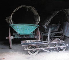 "Photorealist painting with green and gray, ""Balkan Wagon"", oil on linen"