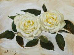 """Realist flowers with green and yellow, """"A Pair of White Roses"""", oil on panel"""