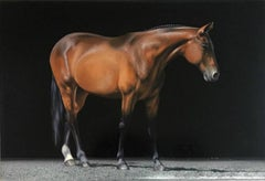 """Photorealist brown horse, """"Koufax"""", Inspired by George Stubbs"""