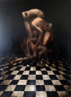"""Black white and beige realist painting, """"Souls (Can This Stand?)"""", oil on canvas"""