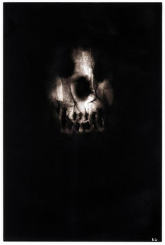 """Black skull, """"Triptych 1"""", Ronald Gonzalez, carbon flame drawing on paper, 2017"""