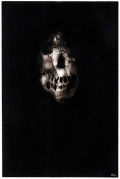 """Black skull, """"Triptych 2"""", Ronald Gonzalez, carbon flame drawing on paper, 2017"""