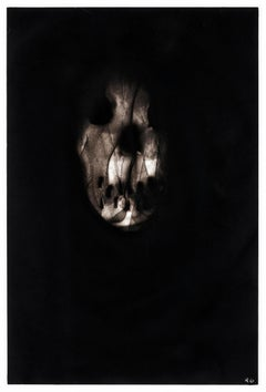 """Black skull, """"Triptych 3"""", Ronald Gonzalez, carbon flame drawing on paper, 2017"""