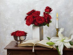 """Red and silver realist still-life, """"After the Festival"""", Joseph Q. Daily"""