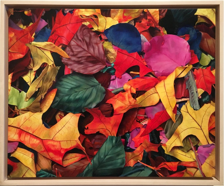 """Photorealistic red yellow and blue leaves, """"October 3rd"""", oil on canvas on panel"""