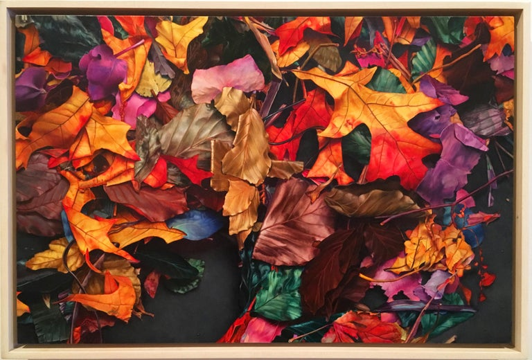 """Photorealistic red yellow and blue leaves """"October 7th"""" oil on canvas on panel"""