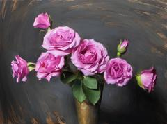 """Realist pink purple and green flowers, """"Pink Spray"""" oil on panel,  2016"""