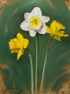 """Realist yellow white and green flowers, """"Daffodils"""", oil on panel, 2017"""