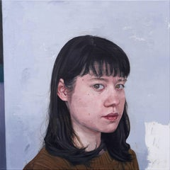 "Realist portrait painting with light blue background, ""Untitled G"", Chang Park"