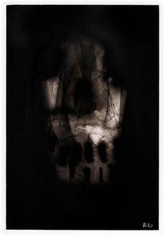 "Black skull, ""Skull"",  Ronald Gonzalez, carbon flame drawing on paper, 2017"