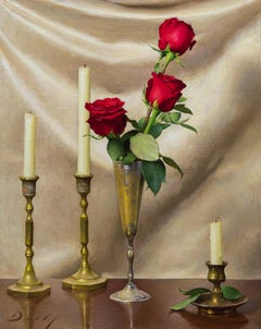 """Realist still-life, """"Arrangement in Red and Gold"""" Joseph Q. Daily, oil on canvas"""
