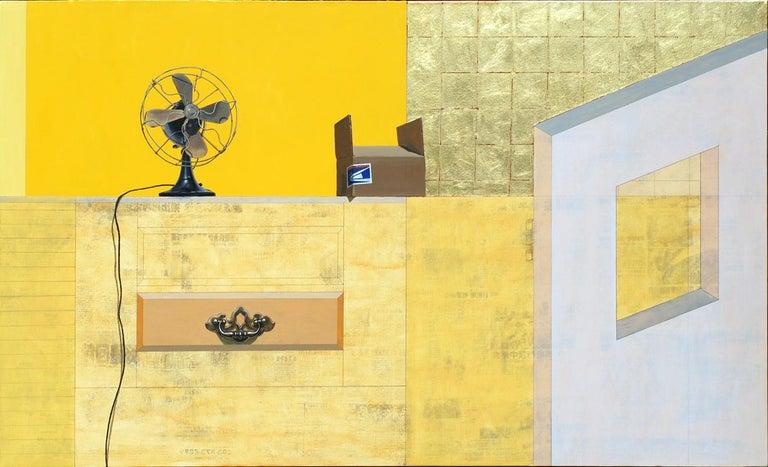 "Photorealist yellow painting, ""Priority Mail"", Gordon Lee, oil/acrylic on panel"