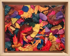 """Photorealistic red yellow and blue leaves """"October 1st"""", oil on canvas on panel"""