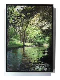 """Photorealist oil painting with green and brown, """"Woods and Water"""""""