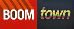 "Diptych with painted lettering, ""Boom Town"", red and black background"