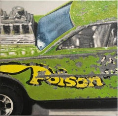 """Small scale photorealist green and yellow car, """"Poison Pinto"""", oil on canvas"""