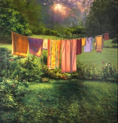 "Photorealist landscape with green, ""Laundry at Sunrise"", oil on linen"