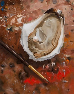 "Small scale photorealist painting, ""The Painted Oyster"", red brown and beige"