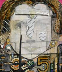 Mixed Media, Highly Textures Portrait of Woman // Iza