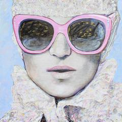 Mixed Media Portrait of Woman with Sunglasses // Rosa