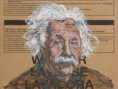 Gestural Portrait of Albert Einstein (Acrylic on Appliance Box Cardboard)