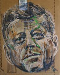 Gestural Portrait of John F. Kennedy / JFK (Acrylic on Appliance Box Cardboard)